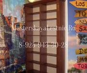 Книжный шкаф на заказ изготовленный по индивидуальному проекту из массива дуба